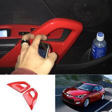 ABS Red inner door armrest cover trim strip 2pcs For Hyundai Veloster 2013-2017