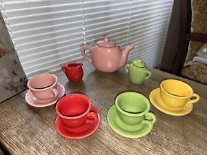 CDI Children's 13 Piece Bright Multi-Colored Fiesta Style Ceramic Tea Set
