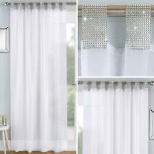 White Voile Curtain Panels Diamante Sparkle Bling Sheer Tab Top Voiles Curtains