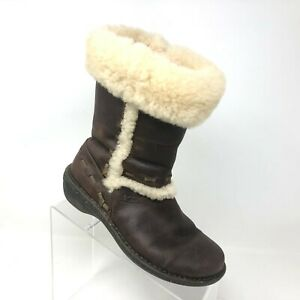 UGG Elijo Cuff Boot Brown Leather Sheepskin Cuff Shearling Lined Womens Size 7