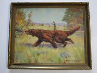 ANTIQUE ARTHUR STAIGH PAINTING OLD HUNTING RIFLE POINTER DOG GAME ART DECO 1920