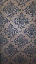 Victorian Damask design Light Gold & Dark Grey Feature wallpaper