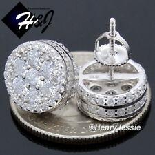 MEN 925 STERLING SILVER 12MM LAB DIAMOND ROUND SCREW BACK 3D STUD EARRING*E174