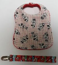 Minnie Mouse Red Reversible Dribble Bib and Dummy Clip set Great 4 Baby Shower