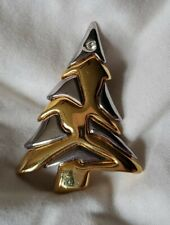 Two Tone With Crystal Accent Liz Claiborne Christmas Tree Pin Brooch