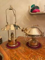 2 Vintage Brass Fulton Table & Hanging Kerosene Oil Ship Lamps