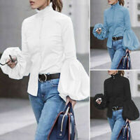 Button Puff Oversized Sleeve Blouse Casual Top Up Women High Shirt Neck Ladies