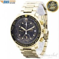 SEIKO watch QUTARZ quartz chronograph SNA414P1 pilot black / gold men's JAPAN