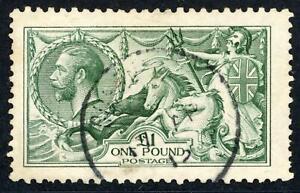GB 1913 KGV £1 Green Seahorse, Fine Used SG 403 Cat £1400