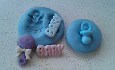 Baby Rattle, Dummy & Baby Word Silicone Mould,Sugarcraft, Cake Decorating,Crafts