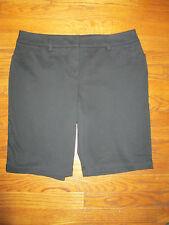 New Jones New York Size 12P Black Cotton Twill Bermuda/Walking Flat Front Shorts