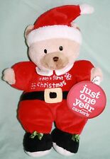 "Carters Just One Year BABYS FIRST CHRISTMAS Santa Bear Rattle 9"" Plush Soft Toy"