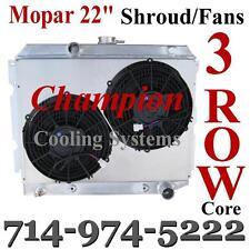 "3 Row MOPAR Dodge Plymouth 22"" Small Block Radiator and Custom Shroud andFans"