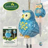 GardenKraft Garden & Outdoor Solar Ceramic Owl Bird Wind Chime and Light - BLUE
