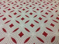 Fabricut Red Geometric Ogee Upholstery Fabric- Coldfield Poppy (3885102) 6.50 yd