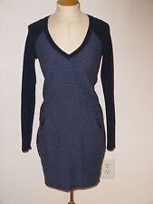ATHLETA NAVY ENCHANTED LONG SLEEVE V-NECK ABOVE KNEE ATHLETIC SWEATER DRESS XXS