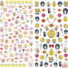 2 Big Sheet Japanese Anime Sailor Moon 3D Nail Art Sticker Nail Decals Manicure