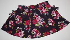 New Crazy 8 Girls 2T Floral Corduroy Skirt Pink Red Floral on Brown Soft Comfy