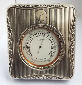 LOVELY RARE WORKING ENGLISH ANTIQUE 1920 GOLIATH BAROMETER & SOLID SILVER CASE