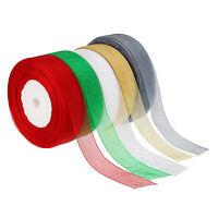 1 x 50 Yard Roll of 25mm Sheer Organza Ribbon Wedding Multi-Color Choose