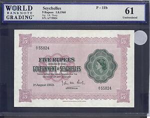 Seychelles p-11b , UNC , 5 Rupees, 1960, QEII