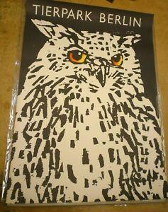 Original Vintage Poster Zoo Berlin Owl (1977)