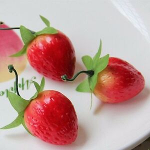 10pcs Lifelike Strawberries Fruits Artificial Fake Strawberry Ornaments Decor