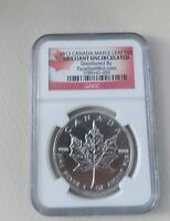 $5 2013 Canadian Maple Leaf 1 Ounce Silver Coin Uncirculated NGC