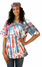 Tie Dyed Red White Turquoise Cotton Pocket Shirt & Cap. One Size Fits Most.