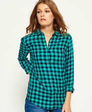 Womens Superdry Shirts Various Styles & Colours BA - Super Navy Teal Gingham M