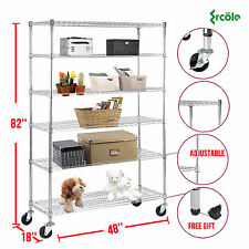 "6 Tier 82""x48""x18"" Heavy Duty Wire Shelving Rack Steel Shelf Adjustable Chrome"