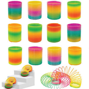 COLORFUL PLASTIC RAINBOW SPRING JUMBO KIDS FUN PLAY MAGIC SLINKY TOYS PACK OF 24