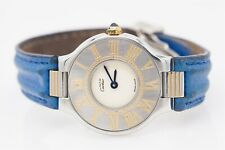 $3000 Cartier NEW BLUE MIDSIZE 18k Yellow Gold SS Ladies Watch OLD STOCK