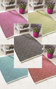 ❤️ Fair Trade Diamond Weave Geometric 100% Recycled Cotton Rug Scandi 3 Sizes