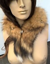 brown tan black genuine real fox tail fur collar scarf neck warmer shawl stole