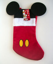 Disney Mickey Mouse Ears Christmas Stocking Red Black White Yellow 15""