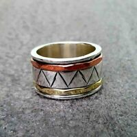 Solid 925 Sterling Silver Spinner Ring Meditation Ring Statement Ring Size st837
