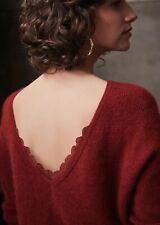 Sezane Nicky Lace Jumper Baby Alpaca And Mohair Size S Burgundy Worn Once