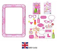 PINK HEN PARTY PHOTO BOOTH KIT Blow Up Wedding PROPS +INFLATABLE SELFIE FRAME UK