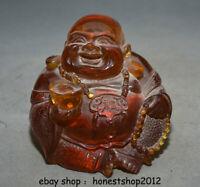 "4,8 ""Roter Bernstein geschnitzte Feng Shui Happy Laugh Maitreya Buddha Statue"