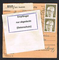 BRD Bund Paketkarte Mi.Nr. 637 und 644  Bedarfsbeleg MiF (086)