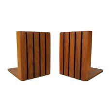 Mid Century Teak Bookends Kalmar Slat Wood Danish Modern Vtg