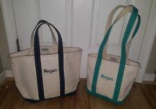 LOT OF 2 Vtg. LL Bean Boat Tote natural Canvas Bag monogrammed MEGAN blue Green