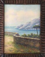"SIGNED Giuseppe Salvati Almafi coast Seascape Original Oil Painting 16""x22"""