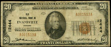 $20 EVANSVILLE INDIANA OLD NATIONAL BANK 1929~#12444~NATIONAL CURRENCY