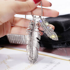 Fashion Feather Leaf Crystal CZ Pendant Long Sweater Chain Necklace Jewelry Gift