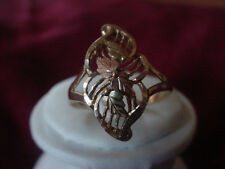 Vintage 10k Yellow Gold Filigree Diamond Cut w/Rose Gold Leaf Ring sz11.5,