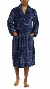 Tommy Bahama Men's Soft Plush Robe Blue Plaid Size Small/Medium w Pockets