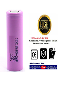 ICR Flat Top Rechargeable Li-ion Battery 2600mAhbattery