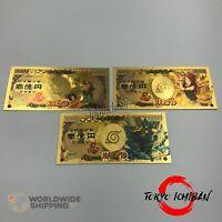 3 Billet Naruto Shippuden Kakashi Minato Gold / Carte Card Figurine / Banknote